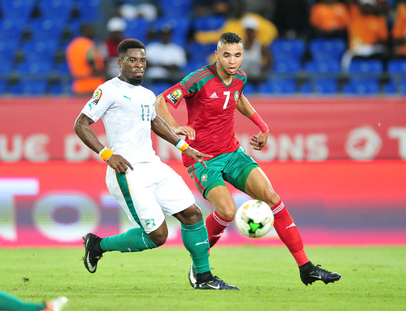Youssef En Nesyri of Morocco challenged by Serge Aurier Ivory Coast during the 2017 Africa Cup of Nations Finals match between Morocco and Ivory Coast at the Oyem Stadium in Gabon on 24 January 2017 ©Samuel Shivambu/BackpagePix
